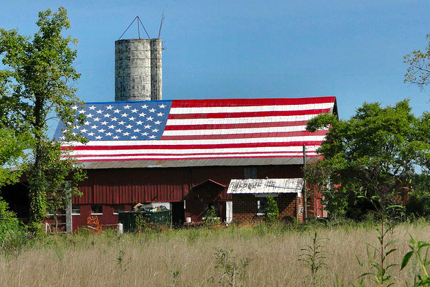Indiana barn with an American flag roof top