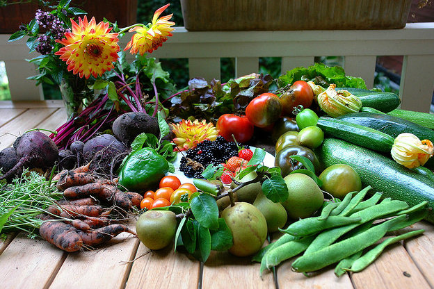 Fruits and vegetables on a table