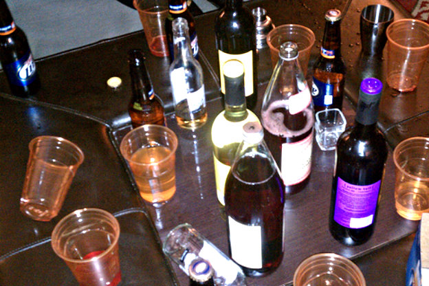 Alcoholic beverages on a table.