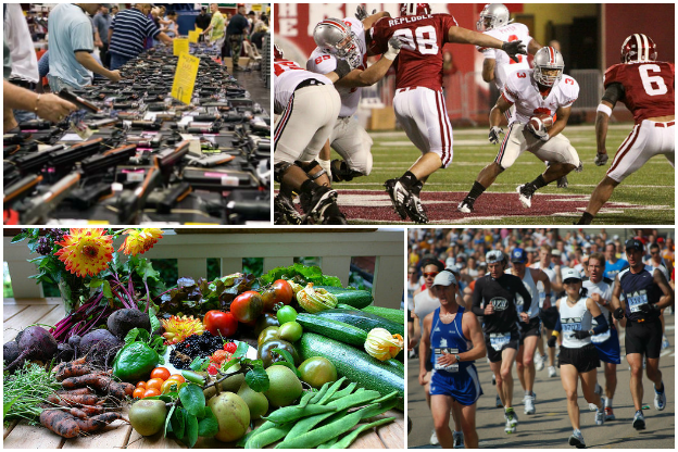 Guns, runners, vegetables, and college football.