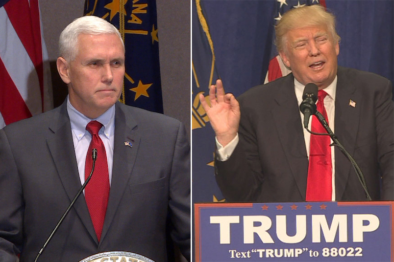 Gov. Mike Pence, R-Indiana, (left) and Donald J. Trump (right).