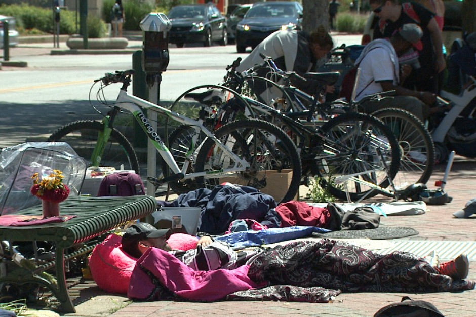 The homeless residents of Bloomington have taken to occupying sidewalks and other areas after an increase in police patrols.