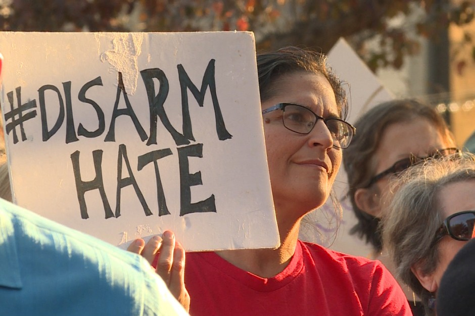 Hundreds of people attended a vigil in solidarity with Charlottesville at the Monroe County courthouse Sunday.