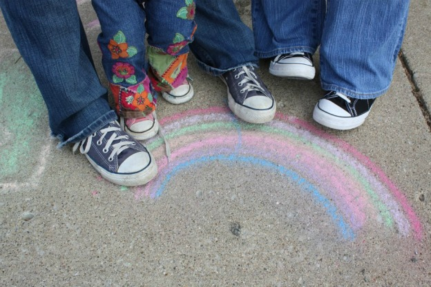 Feet and rainbow