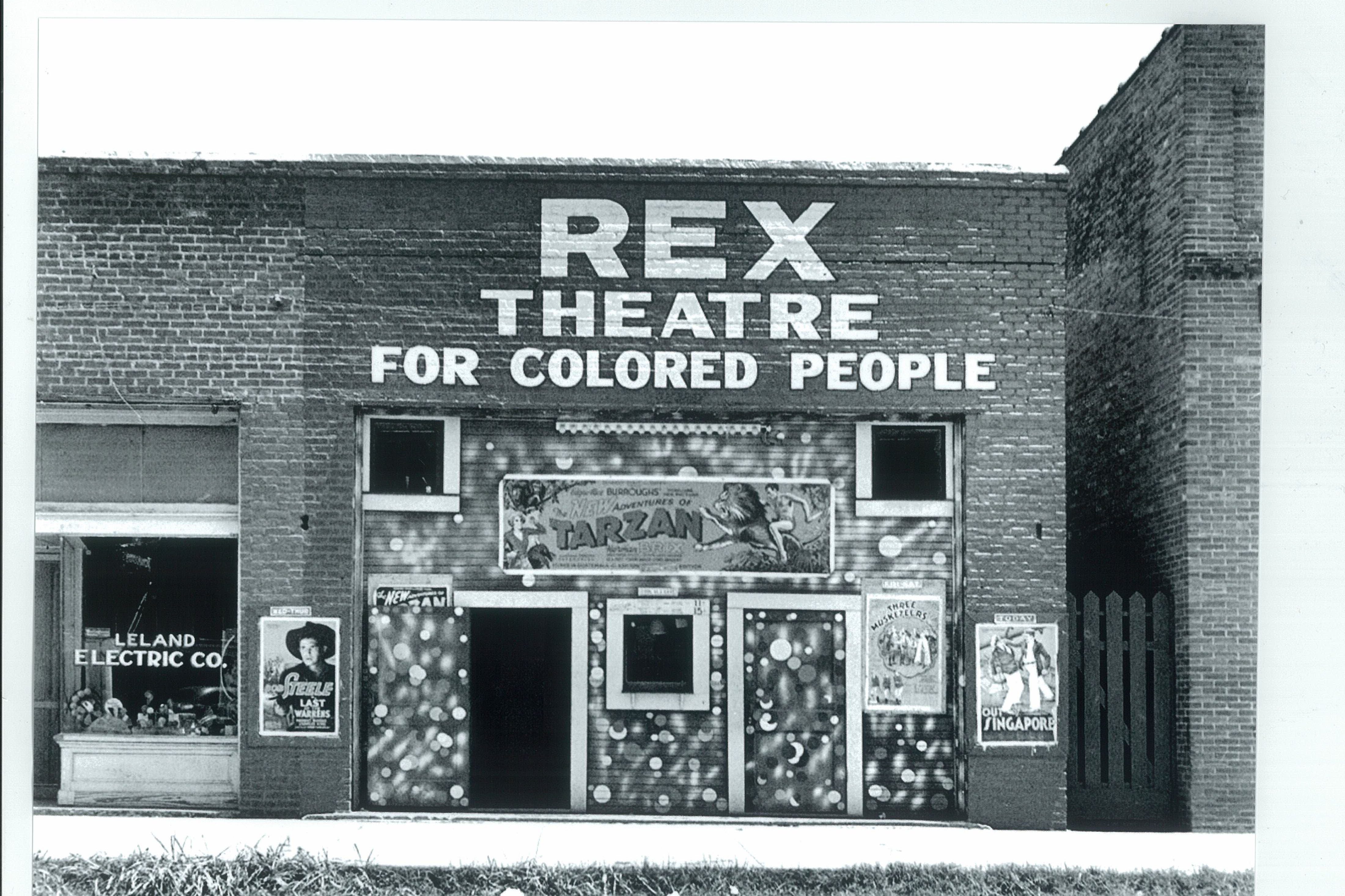 Postcard image of the Rex Theatre in Leland, MS.