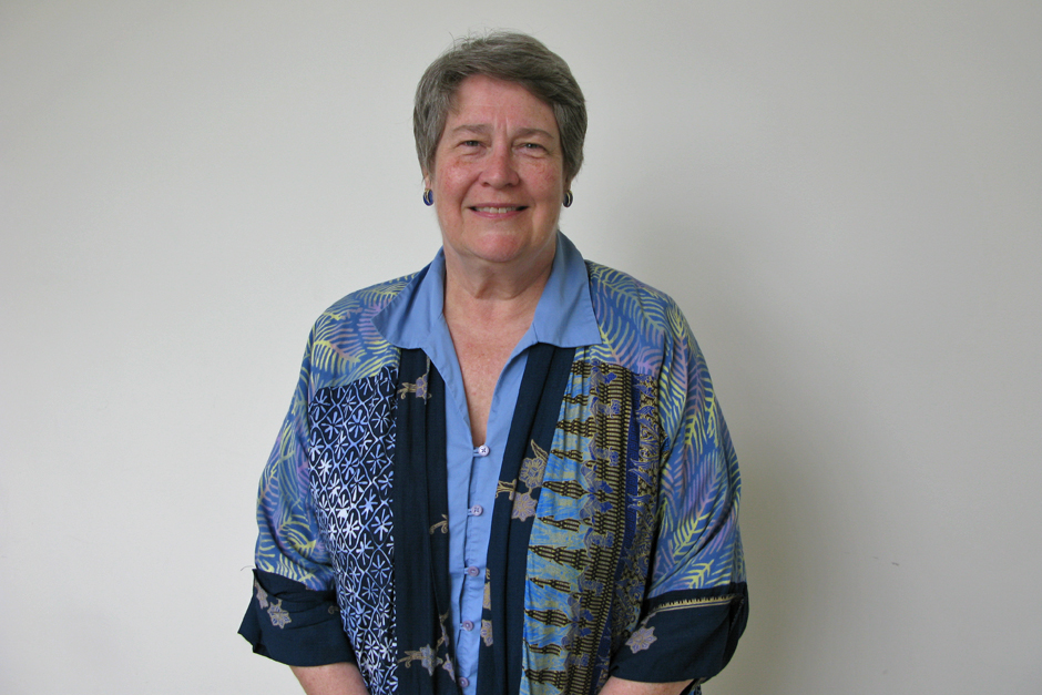Judith Barter in colorful artistic print jacket