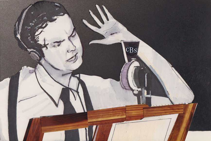 An illustration based on a photo of Orson Welles directing broadcast of