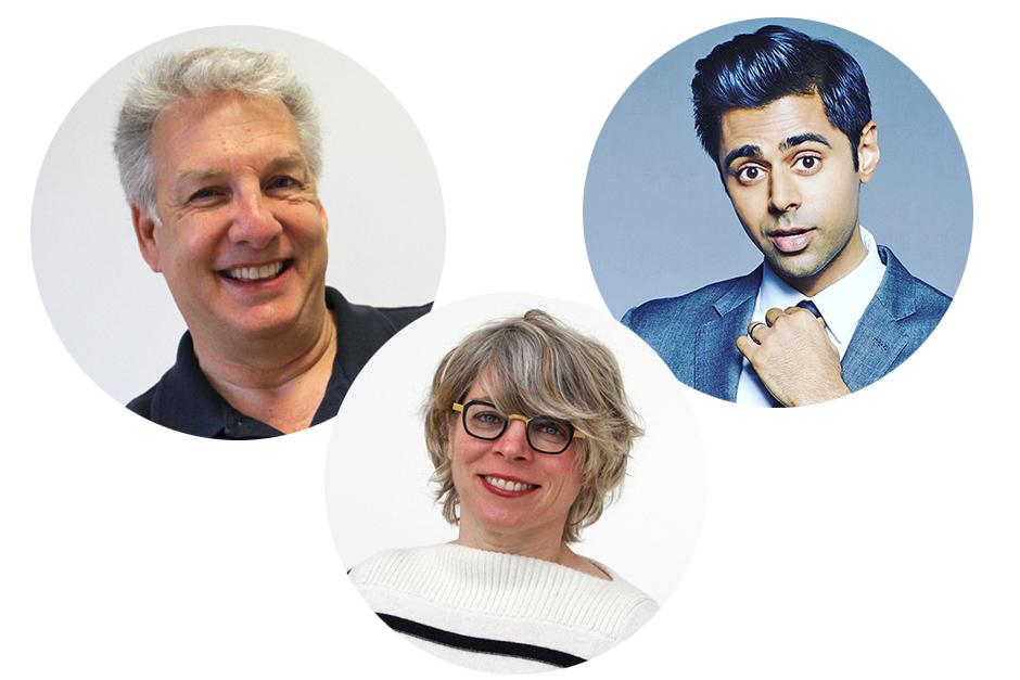 (L to R) Marc Summers, Jill Lepore, Hasan Minhaj