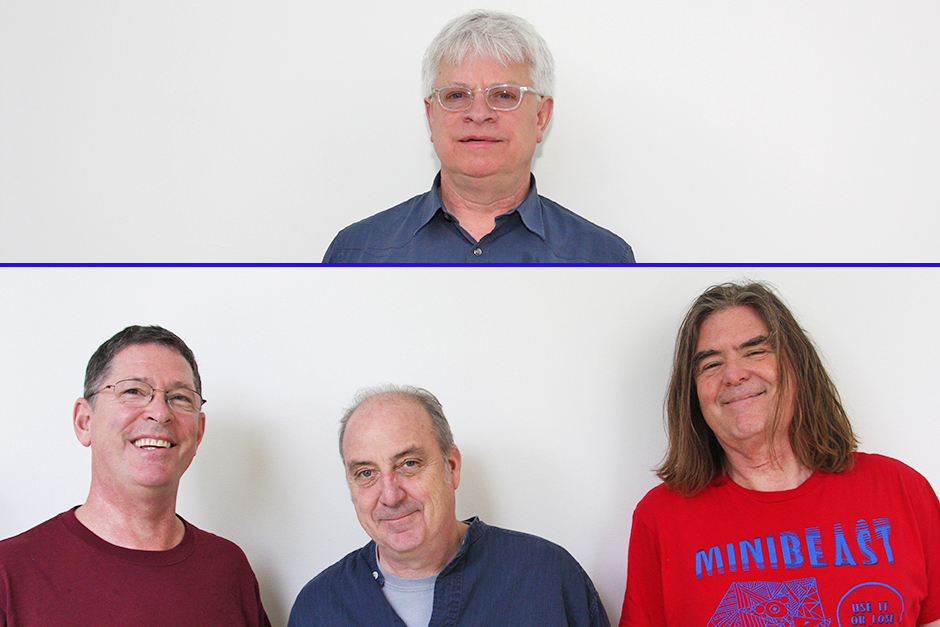 On top, Rick Prelinger in transparent-framed glasses and dark blue shirt. He has white hair. On bottom, the three members of the Alloy Orchestra in casual shirts