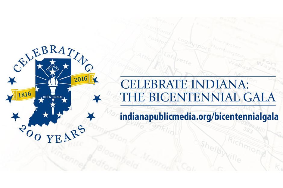 "Logo for the Indiana Bicentennial Gala, consisting of the words ""Celebrating 200 Years"" surrounding a map of Indiana with a torch inside, and behind it a banner with the years 1816 and 2016."