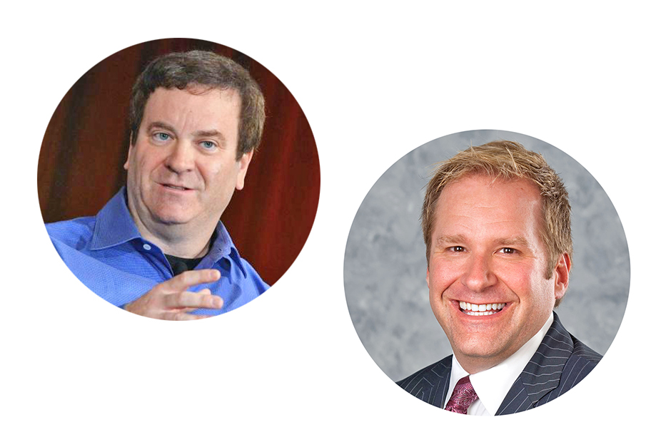 Todd Wagner speaking sitting on a stage, curtain behind him, gesturing; James Fielding in a studio portrait, wearing jacket and tie, smiling broadly.