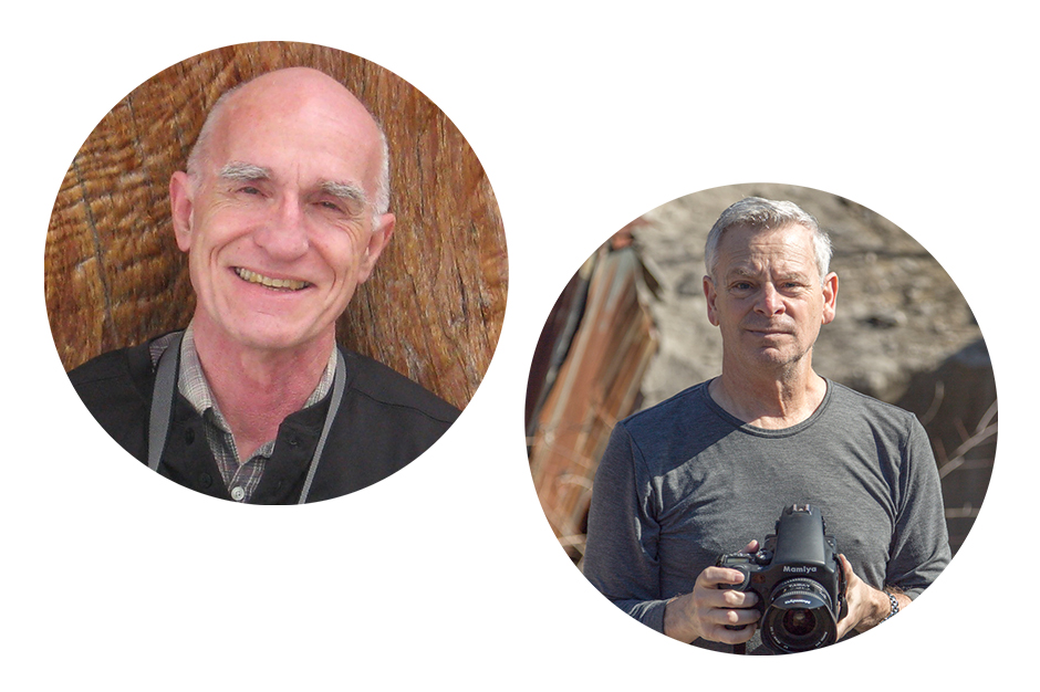 Scott Russell Sanders smiling, Jeffrey Wolin with serious expression, holding digital SLR camera