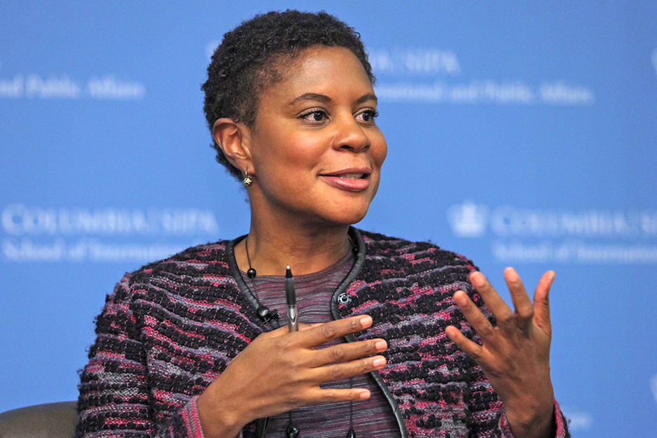 Alondra Nelson speaking, gesturing with hands