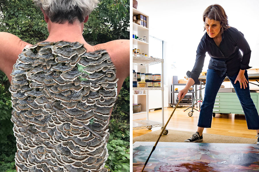 Artwork of Maria Whiteman (Left, photo courtesy of the artist), and Rebecca Allan in her studio (Right, photo courtesy of Adi Talwar)